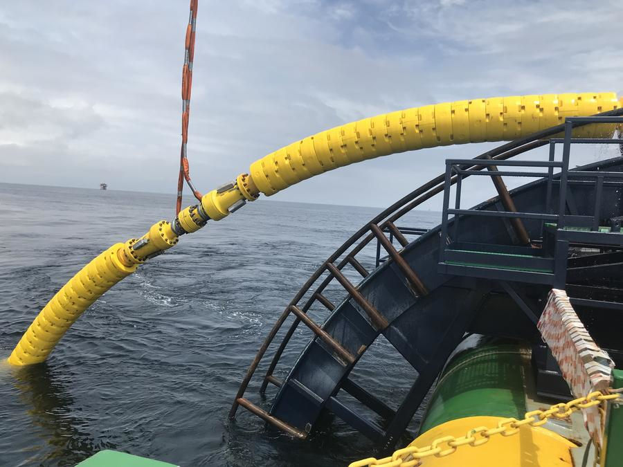 Photo showing SES' equipment shown on the Strohm Thermoplastic Composite Pipe (Courtesy of Subsea Energy Solutions)