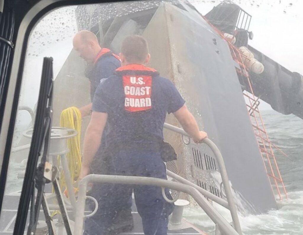 U.S. Coast Guard photo by Petty Officer 2nd Class Anthony Abbate - capsized liftboat