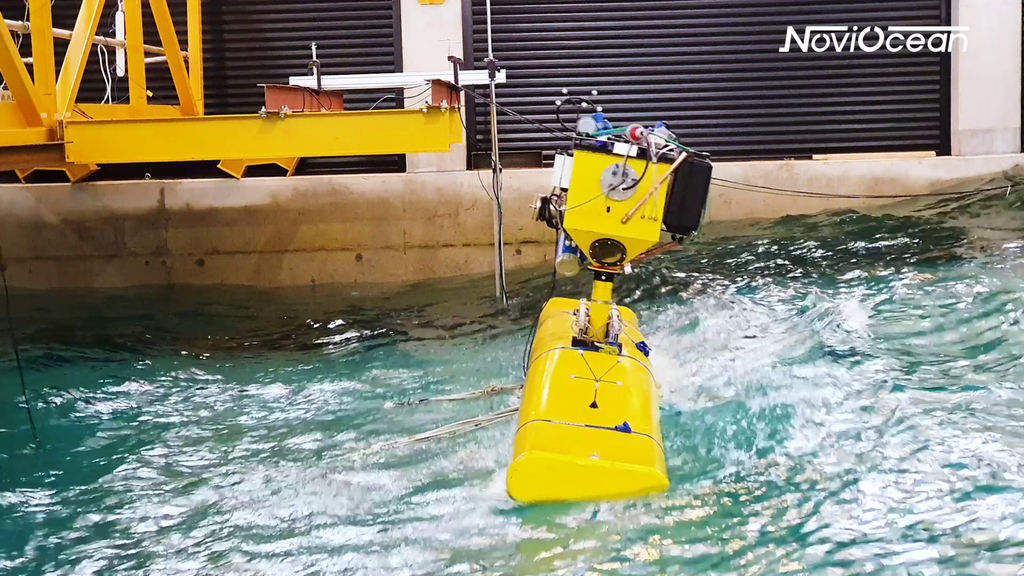 Photo showing tank testing of NoviOcean wave energy device (Courtesy of Novige)