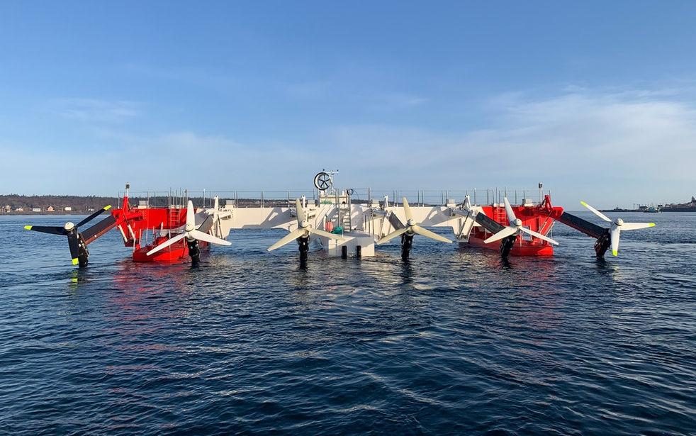 Photo showing Sustainable Marine's 420kW PLAT-I 6.40 floating tidal energy platform (Courtesy of Sustainable Marine Energy)
