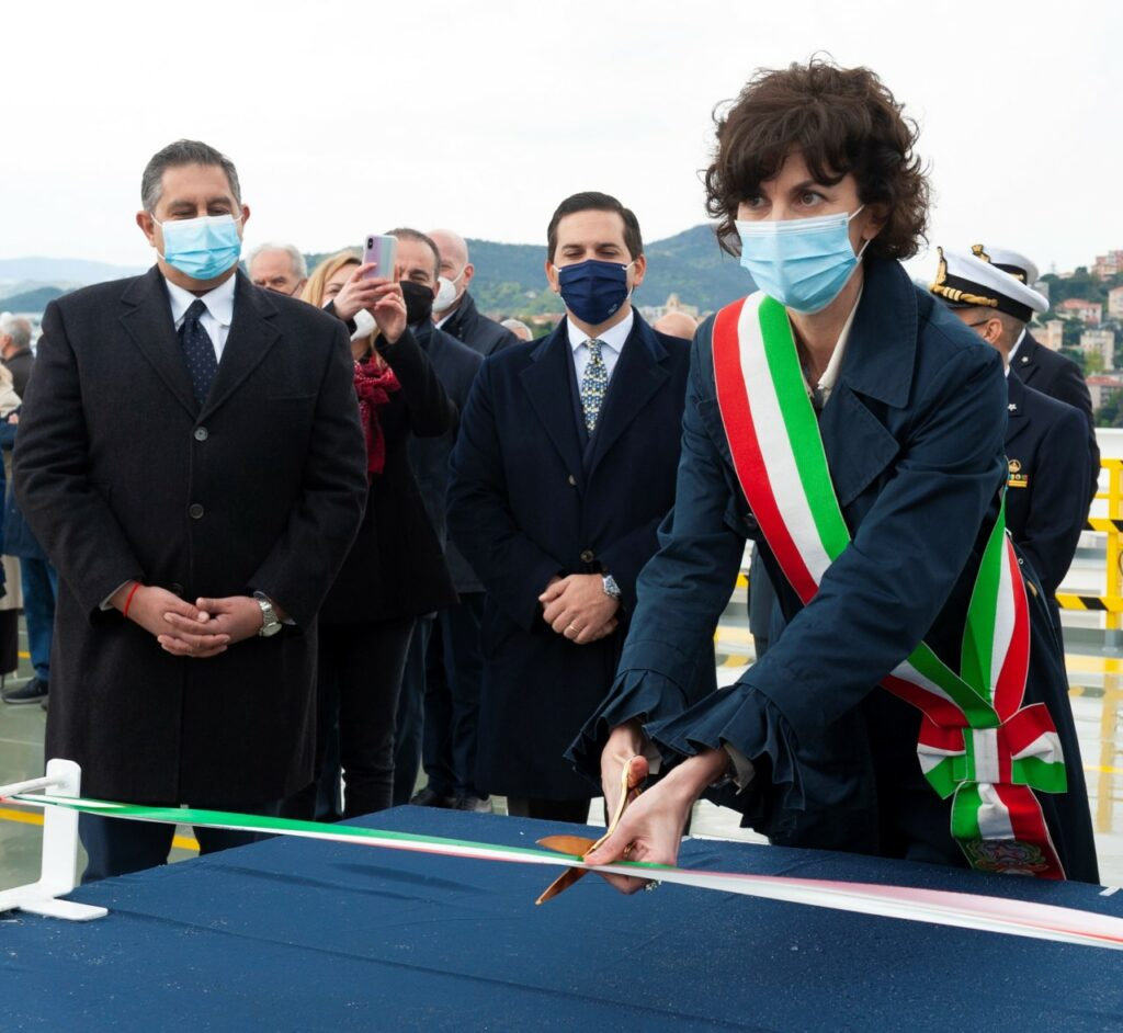 The cutting of the ribbon;