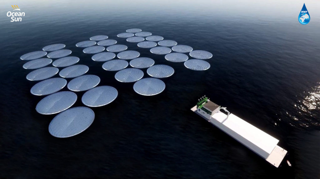 Concept for the MWP vessel with a 20MWp Ocean Sun floating solar power plant (Courtesy of MWP)