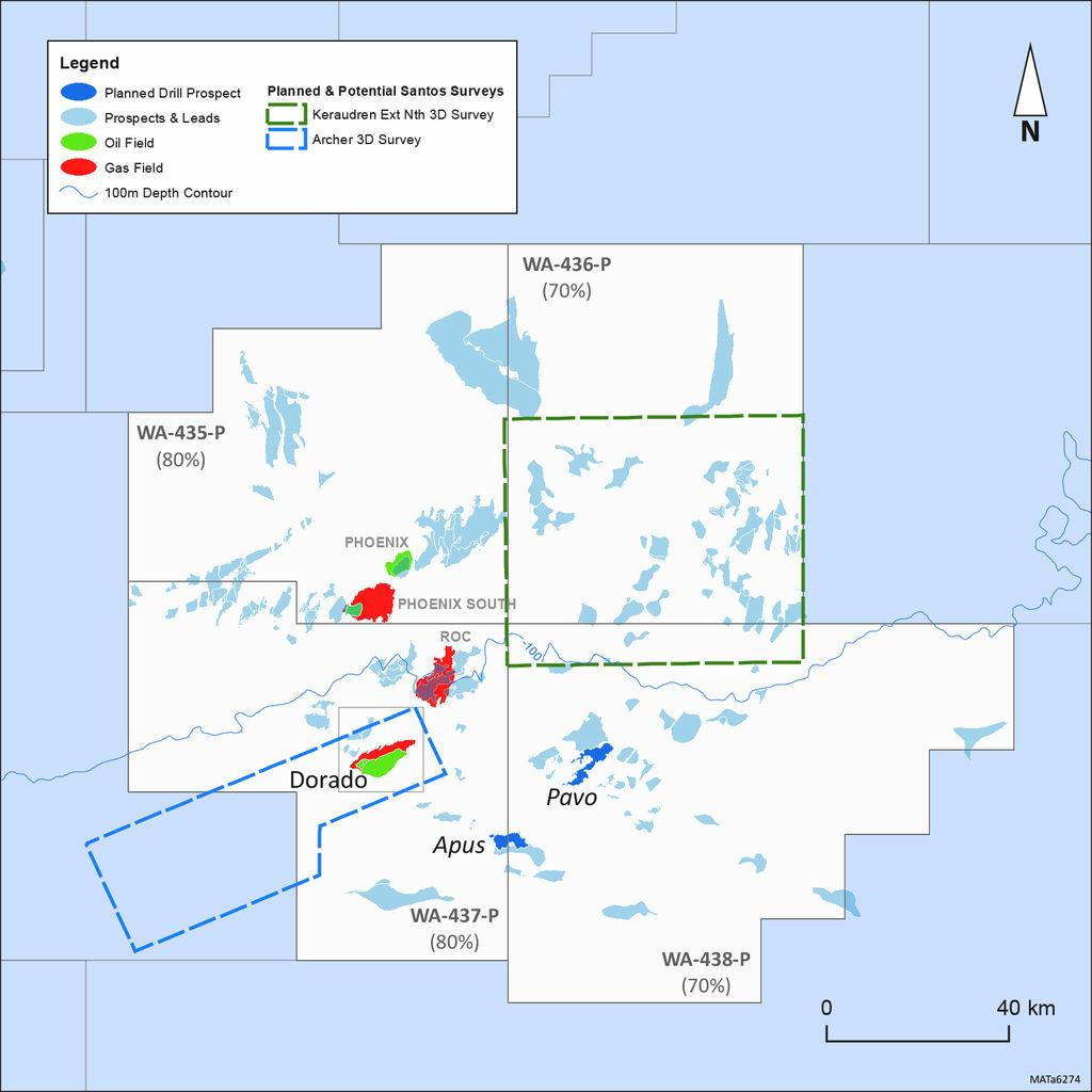 Photo showing the approximate location of Archer and Keraudren Extension 3D Surveys (Courtesy of Carnarvon Petroleum)