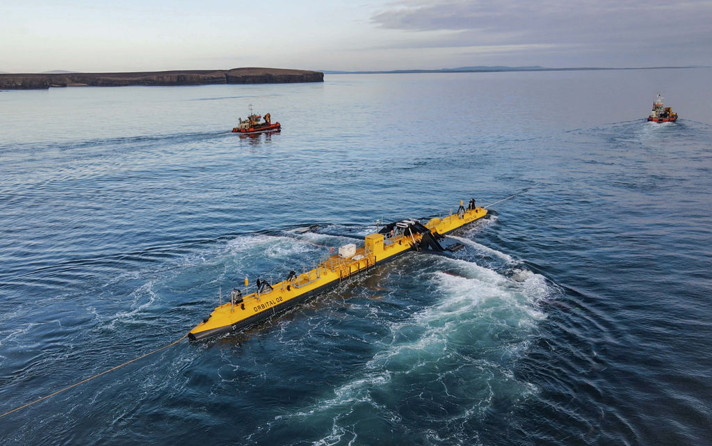 Photo of O2 arriving to Orkney (Courtesy of Orbital Marine Power)