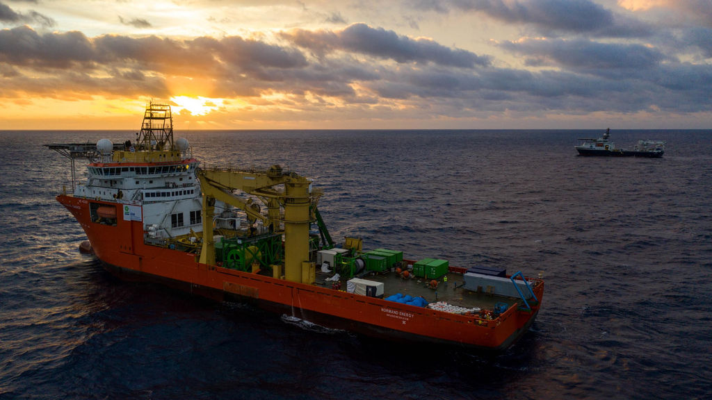 Photo showing Normand Energy, the vessel chartered by GSR to operate the Patania II (Courtesy of DEME)
