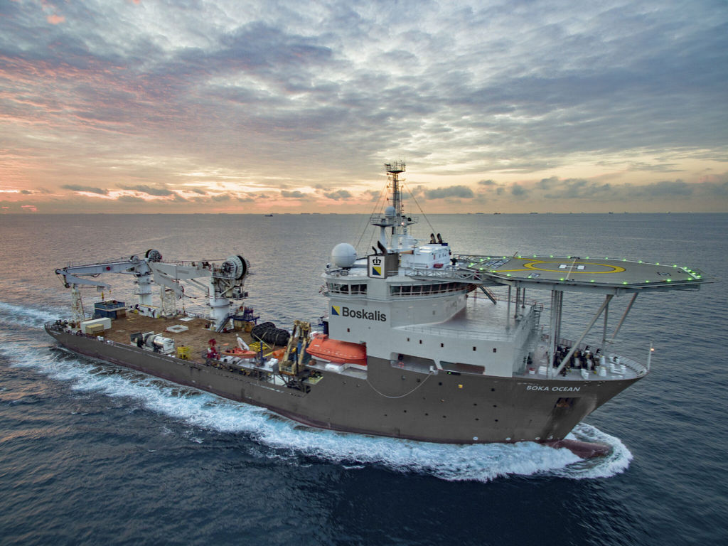 Photo showing the Boka Ocean vessel (Courtesy of Boskalis)