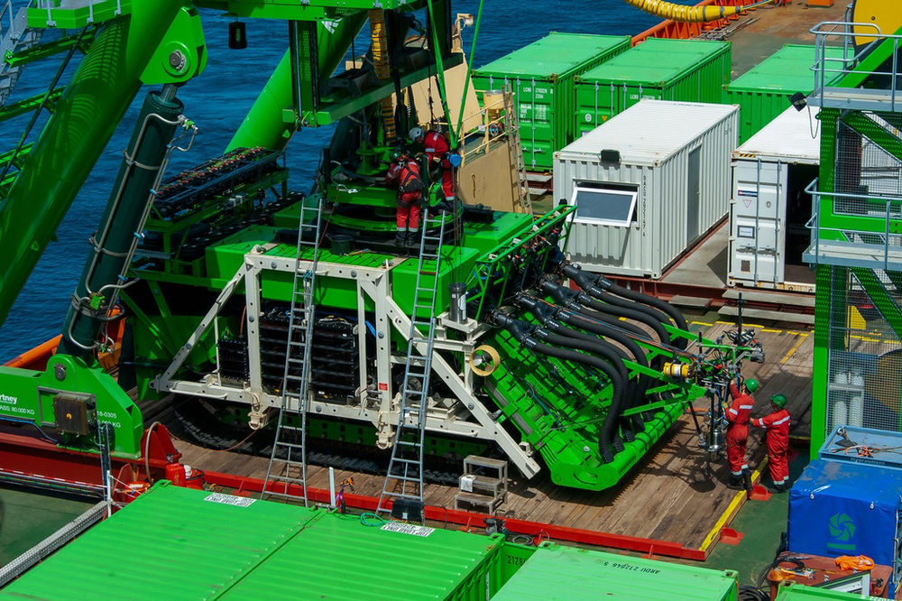 Photo showing Patania II deep-seabed mining robot (Courtesy of DEME Group)