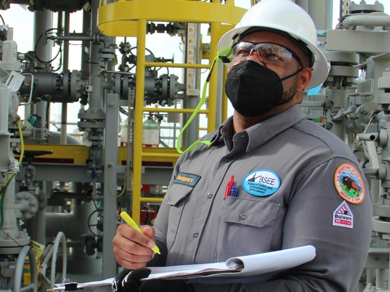 BSEE Production Engineer Marvin Montgomery, from the BSEE Houma District, inspects safety components during a pre-production inspection on the Argos