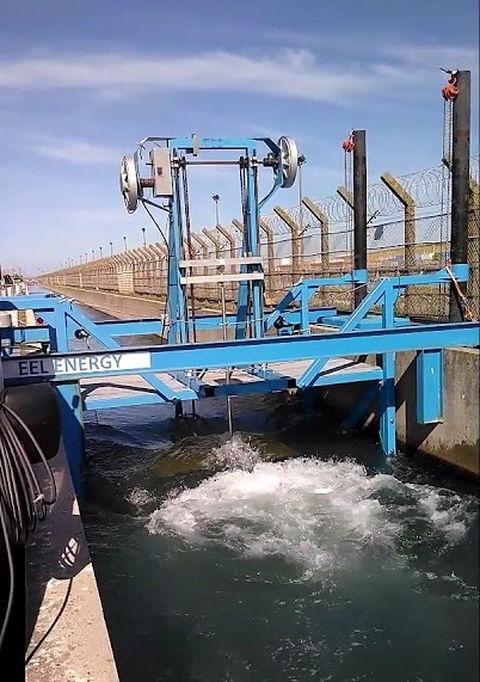 Image showing EEL Energy's tidal energy converter under tests in in Gravelines (Screenshot/YouTube-Franck Sylvain)