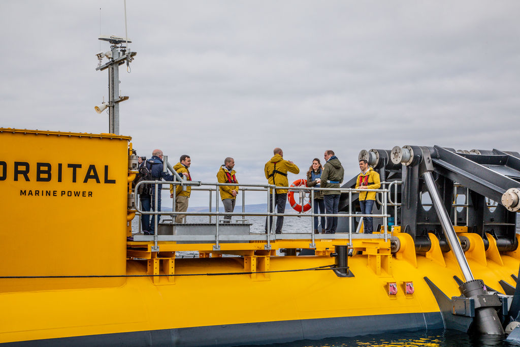 Photo showing Duke and Duchess on board the Orkney O2 tidal turbine (Courtesy of EMEC/Photo by Colin Keldie)