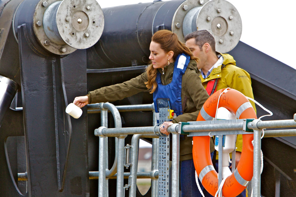Photo showing the Duchess of Cambridge christening the Orkney O2 tidal turbine (Courtesy of EMEC/Photo by Colin Keldie)