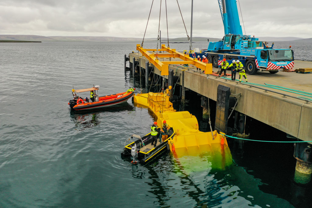 Photo showing Mocean Energy's Blue X device in Orkney (Courtesy of EMEC/Photo by Colin Keldie)