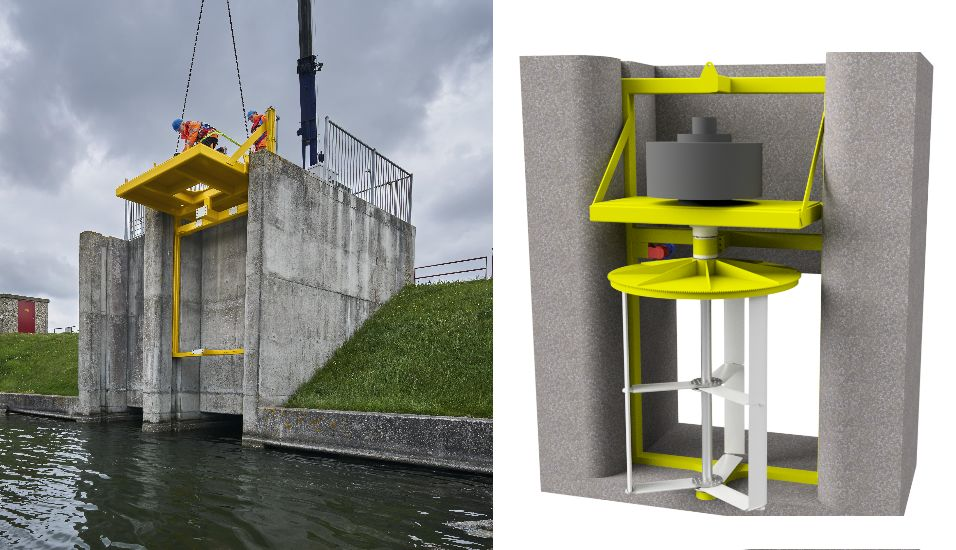 Photo showing W2E testing the installation of the mounting frame on the sluice that will house its tidal turbine (Courtesy of W2E)
