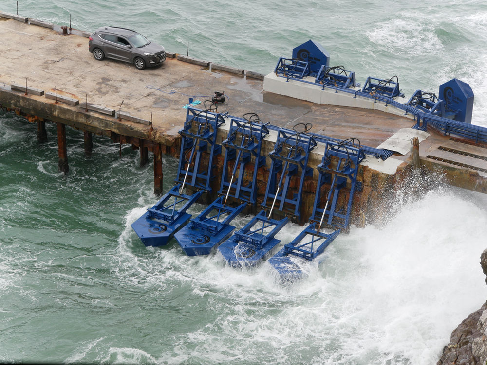 Photo of EWP's wave energy plant in Gibraltar (Courtesy of Eco Wave Power)