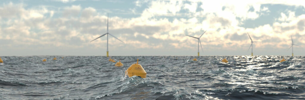 Illustration/Co-located offshore wind and wave farm (Courtesy of CorPower Ocean)