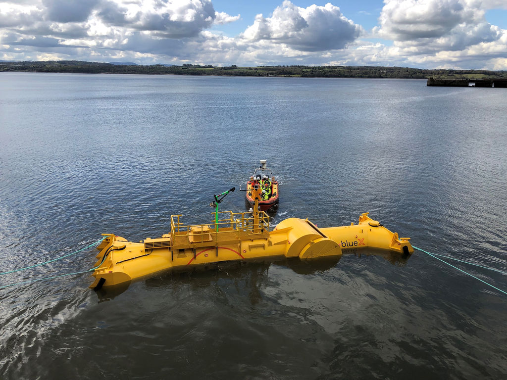 Photo showing Mocean Energy's Blue X wave energy prototype, one of the projects supported in earlier Ocean DEMO calls (Courtesy of Mocean Energy)