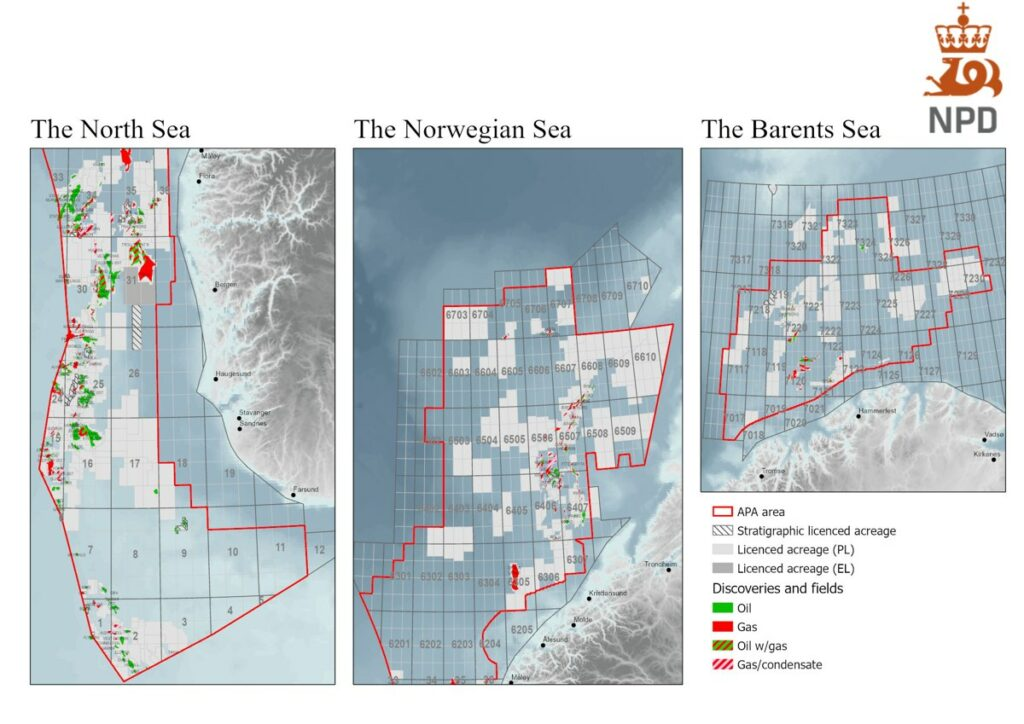 Map of area available for application in APA 2021 - Norway
