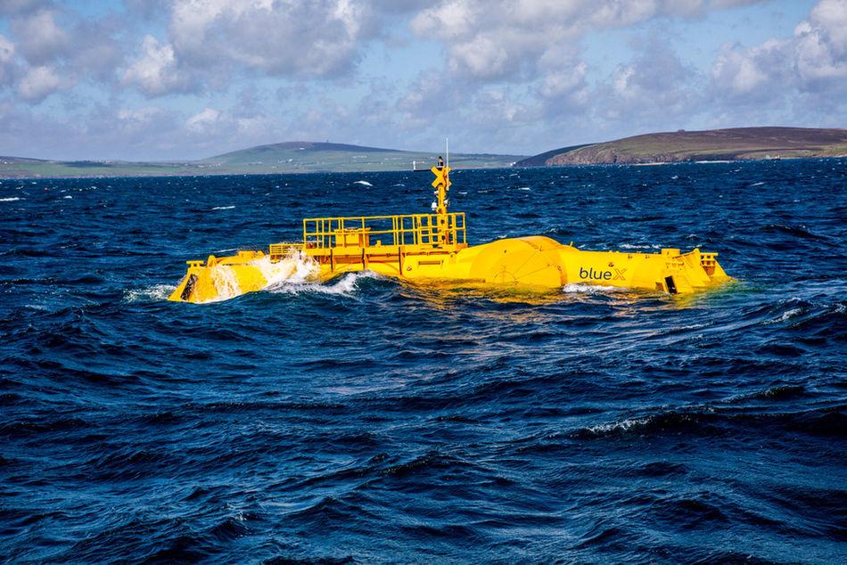 Photo showing Mocean Energy's Blue X in operation at EMEC (Photo by Colin Keldie)
