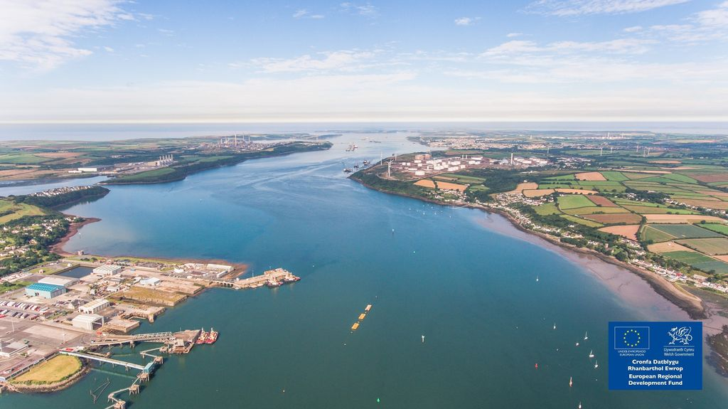 Photo showing Milford Haven Waterway (Courtesy of Marine Energy Wales)