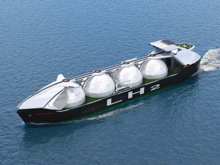 Large liquefied hydrogen carrier (cargo carrying capacity: 40,000 m3 x 4 tanks): Courtesy of Kawasaki