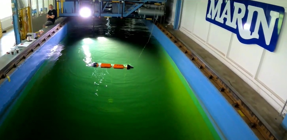 Dutch Wave Power's device under tests at MARIN (Screenshot/Video by Dutch Wave Power)