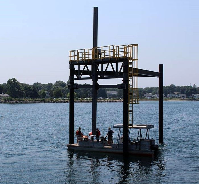 Photo showing Bourne Tidal Test Site test structure (Courtesy of MRECo)