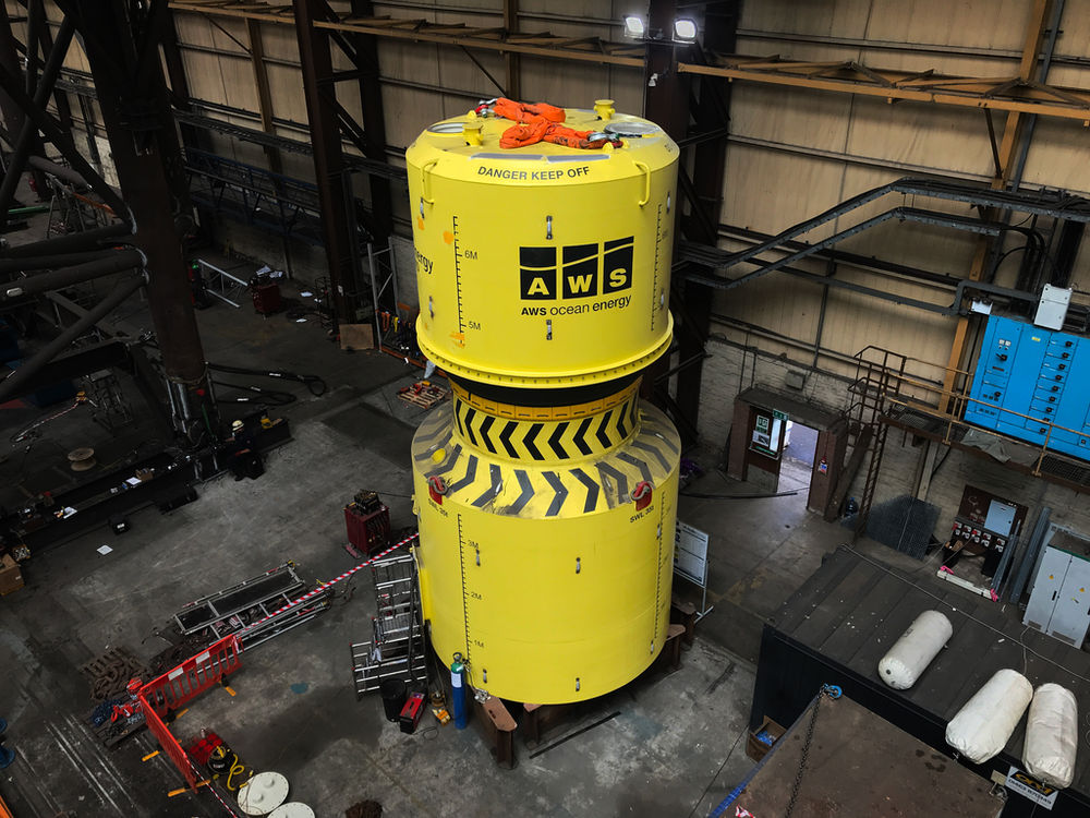 Photo showing partial-scale Waveswing device (Courtesy of AWS Ocean Energy)