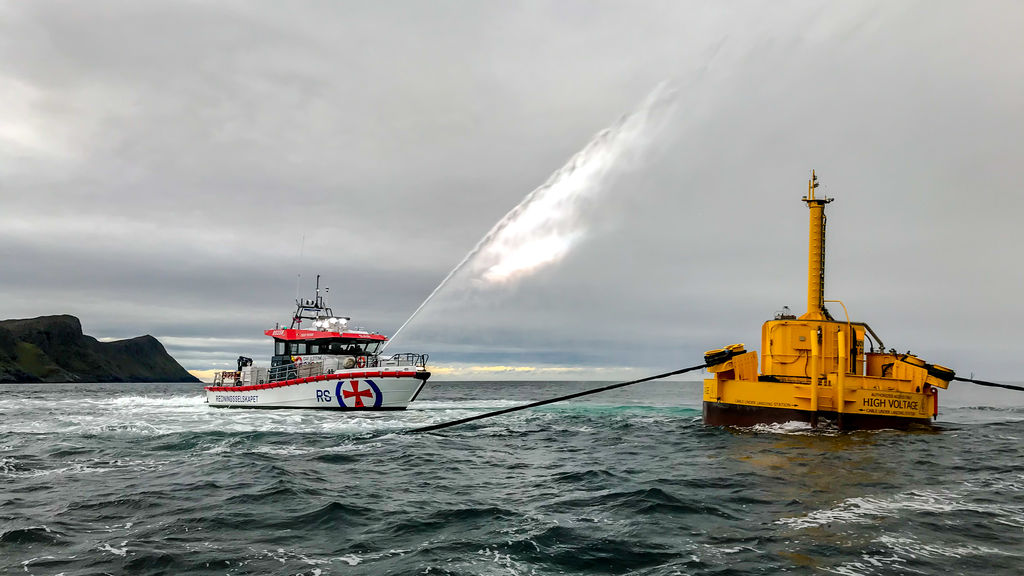 Photo showing WaveEL wave energy system (Photograph courtesy of Waves4Power AB, Sweden)