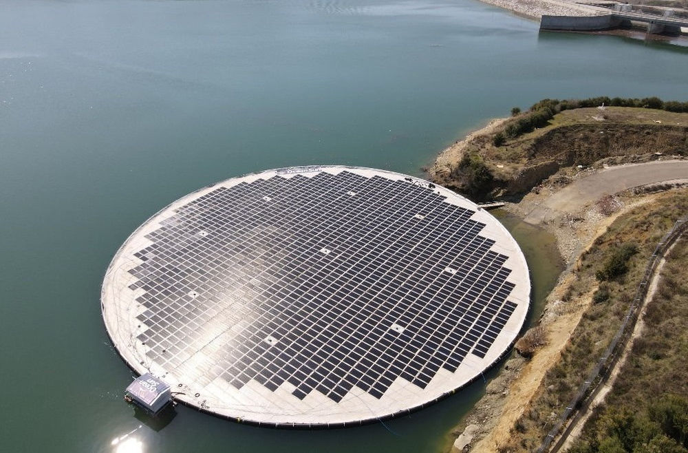 Photo showing the first floating solar unit at Banja reservoir that was damaged earlier in June (Courtesy of Statkraft)