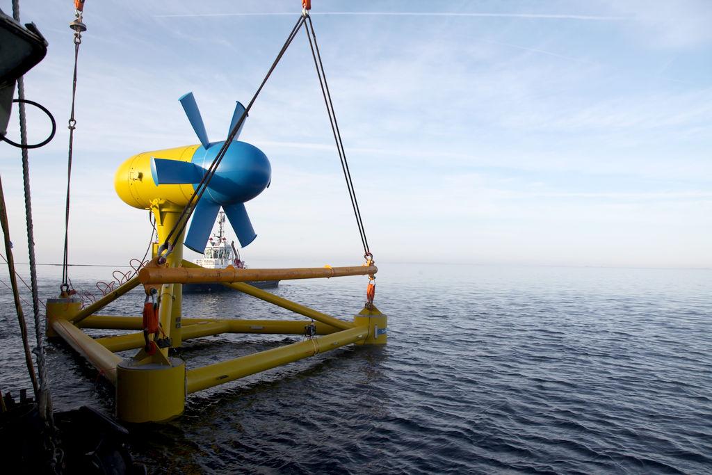 The deployment of Sabella's D10 tidal turbine (Courtesy of Sabella)