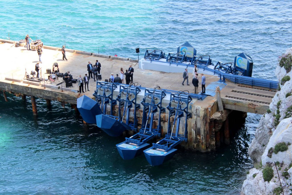 Photo showing Eco Wave Power's Gibraltar wave energy plant (Courtesy of Eco Wave Power)
