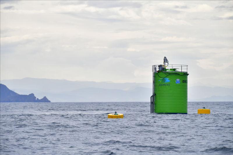 Illustration/Wave energy device deployed of the coast of Basque Country (Courtesy of EVE)