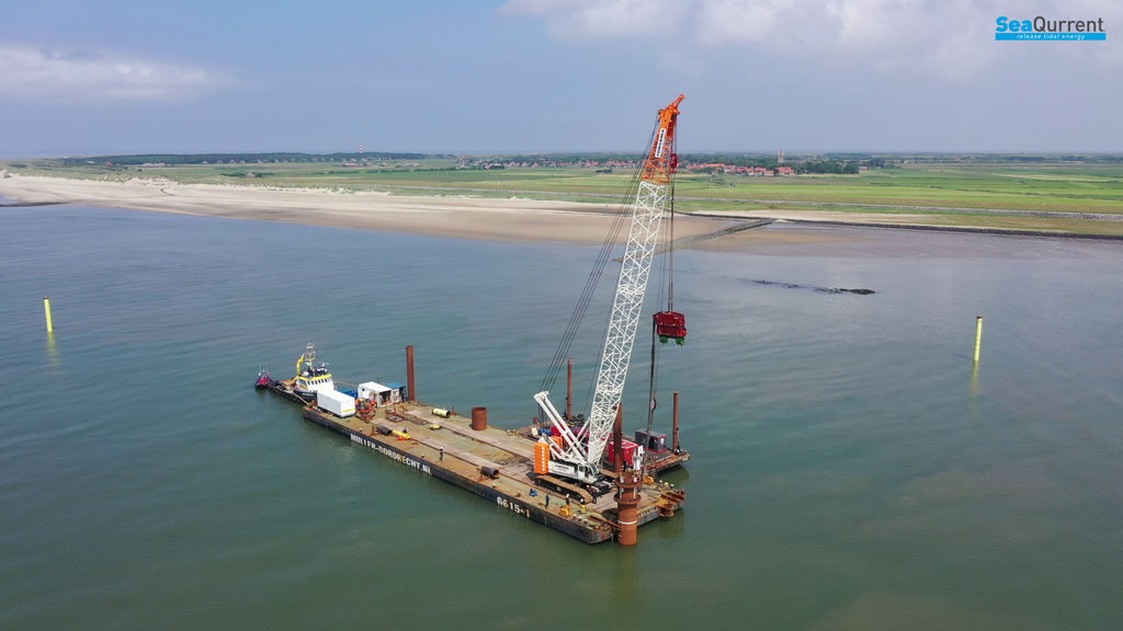 Photo showing the ongoing works at Borndiep test site ahead of TidalKite deployment (Courtesy of SeaQurrent)