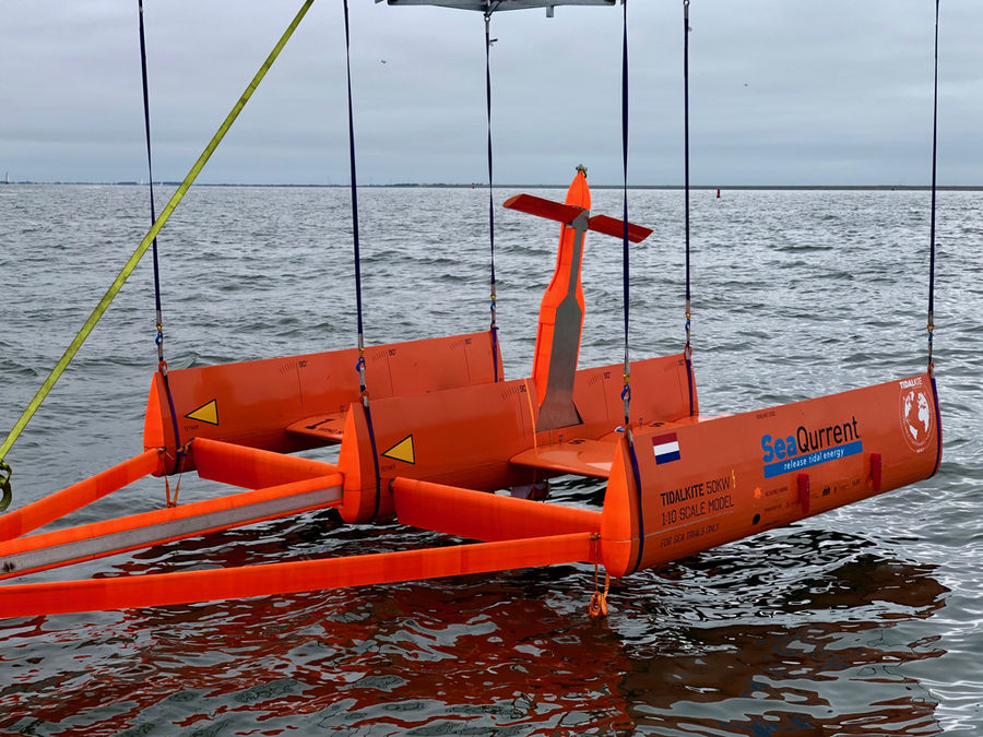 Photo showing TidalKite's 1:10 scale model previously tested in the Wadden Sea (Courtesy of SeaQurrent)