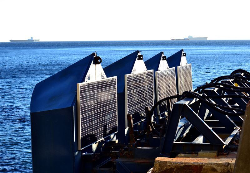 Photo showing Eco Wave Power's wave energy floaters (Courtesy of Eco Wave Power)