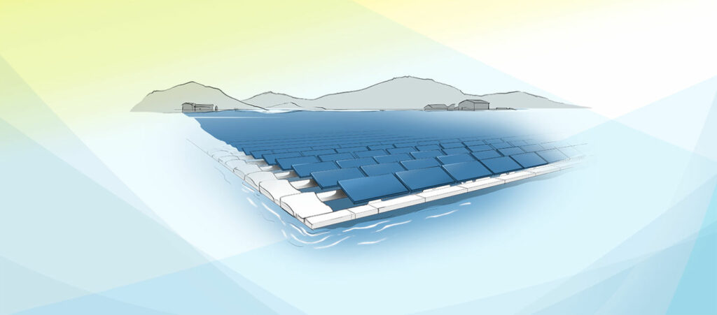 Example of a possible system design for floating PV (Courtesy of Fraunhofer ISE)
