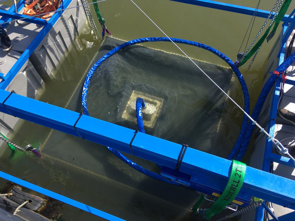 Photo showing the Ocean Battery being deployed (Courtesy of Ocean Grazer)