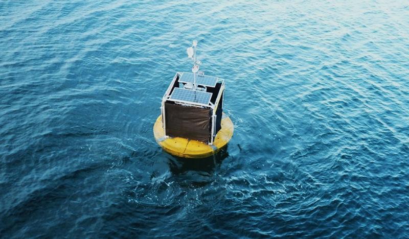 Photo showing Oneka Technologies' wave-powered desalination buoy (Courtesy of Oneka Technologies)
