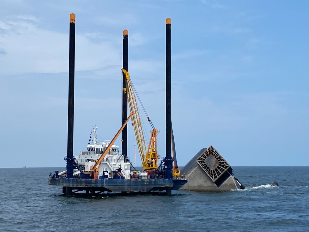 The Seacor Eagle staged with gear near the Seacor Power