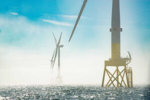 A photo of the wind turbines at Vattenfall's European Offshore Wind Deployment Centre (EOWDC) offshore wind farm