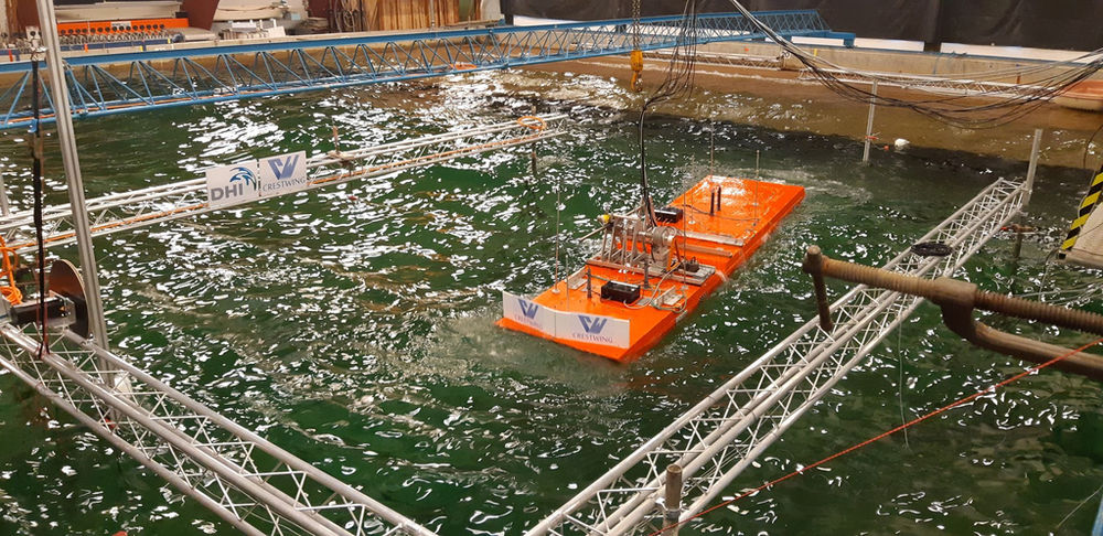 Photo showing Crestwing's wave device scale model testing at DHI (Courtesy of Crestwing)