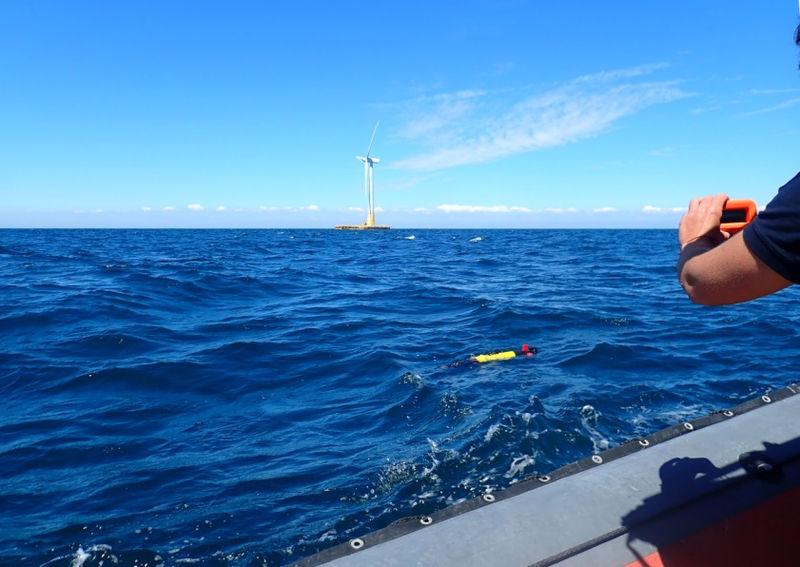 Photo showing RTSYS' autonomous underwater vehicle at SEM-REV (Courtesy of Centrale Nantes/SEM-REV)