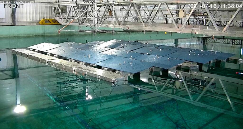 Photo showing HelioRec testing its floating solar system at Ecole Centrale de Nantes (Courtesy of HelioRec)