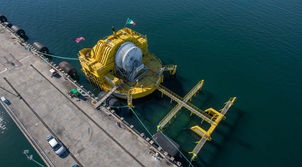 Birds-side view of Ocean Energy's wave energy device (Courtesy of U.S. DOE/Photo by Josh Bauer)
