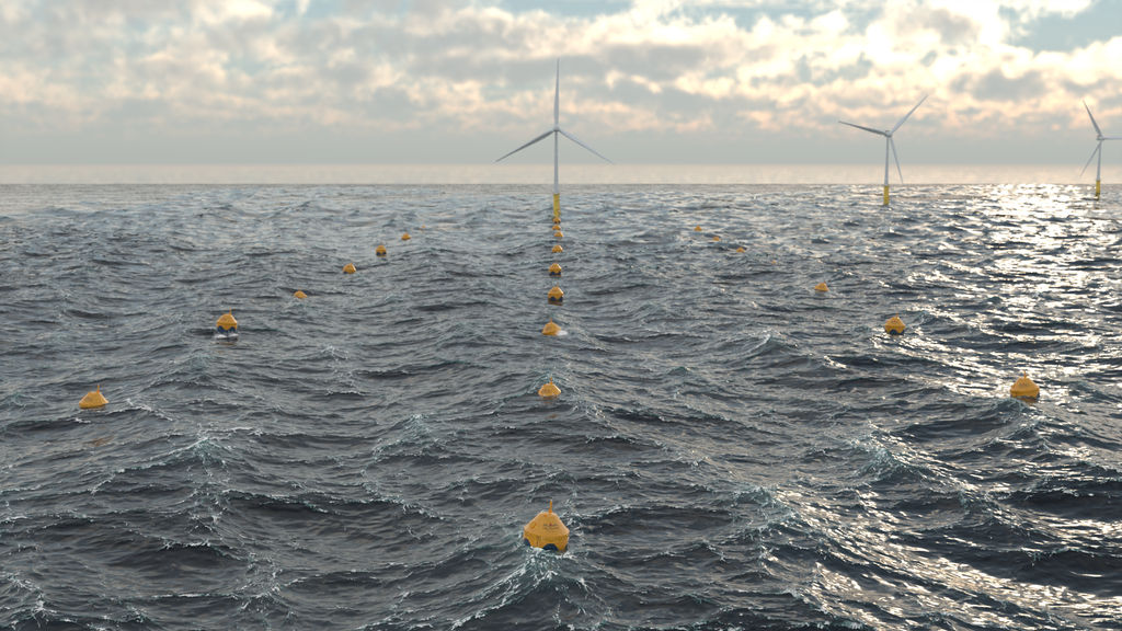 Illustration/Offshore wind farm collocated with wave energy farm (Courtesy of CorPower Ocean)