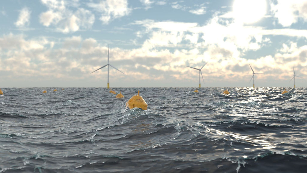 Illustration/Offshore renewable energy farm with offshore wind co-located with wave power plants (Courtesy of CorPower Ocean)