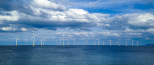 A photo of an offshore wind farm
