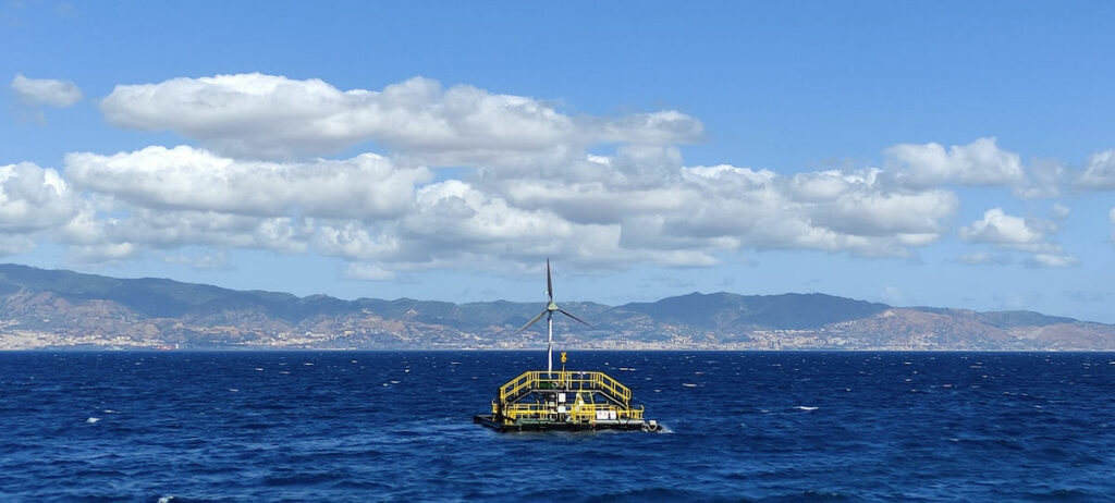 Photo showing the Blue Growth Farm project's multi-purpose floating platform (Courtesy of JRL-ORE)