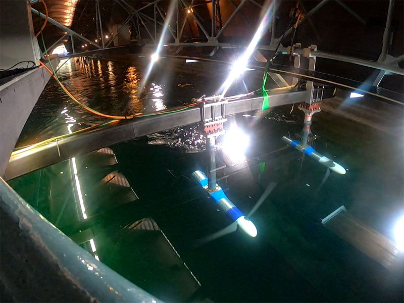 Photo showing the University of Oxford testing tidal turbines with Applied Measurements' sensors (Courtesy of Applied Measurements)