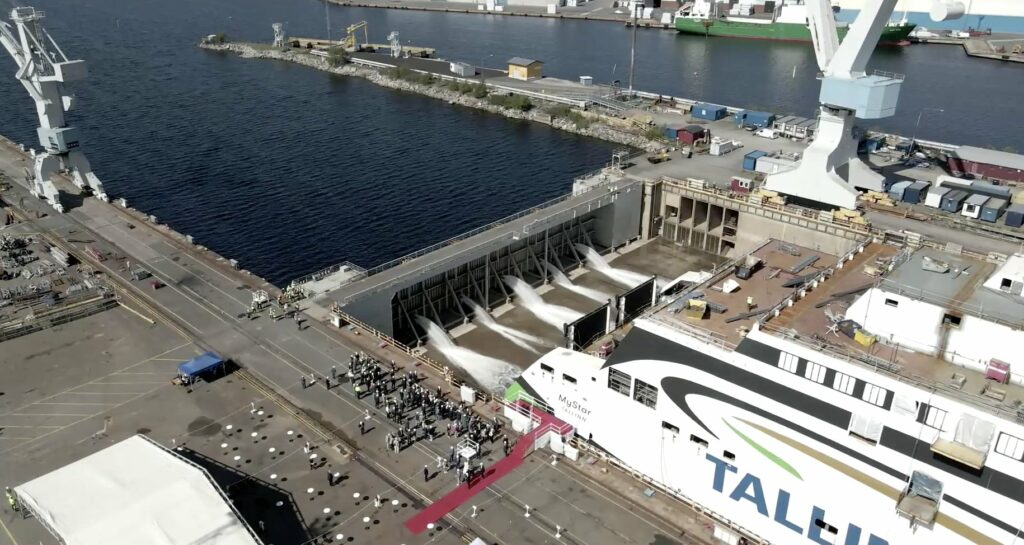 Rauma Marine launches LNG-fueled ferry for Tallink